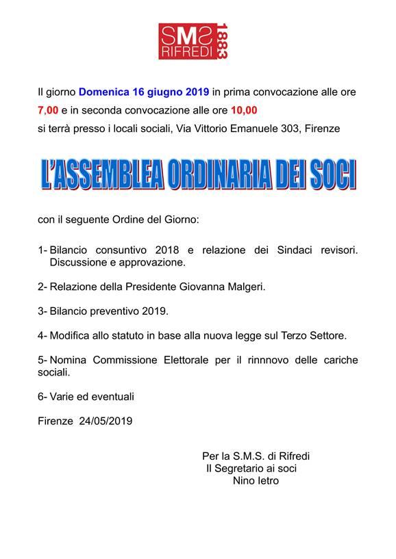 Assemblea ordinaria dei Soci. Domenica 16 giugno 2019